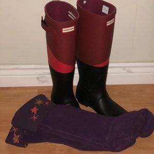 Shoes - Tall Hunter Boots + Winter Socks never worn